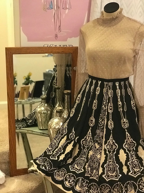 Black & White Skirt w/Silver Embellishments