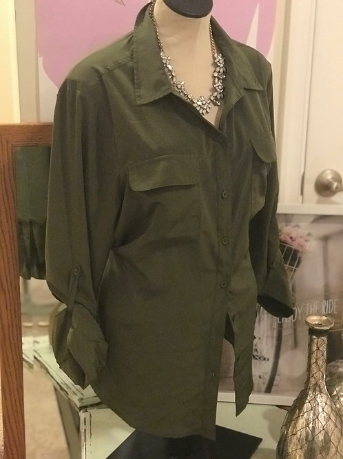 Old Navy Money Green Blouse