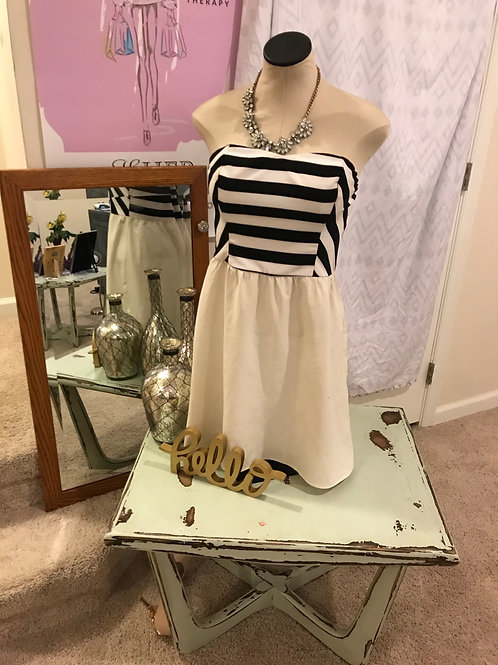 Striped Cream and White Strapless Mini-Dress