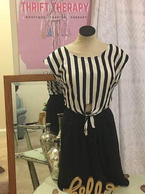 Black & White Striped Tie Dress w/Black Skirt