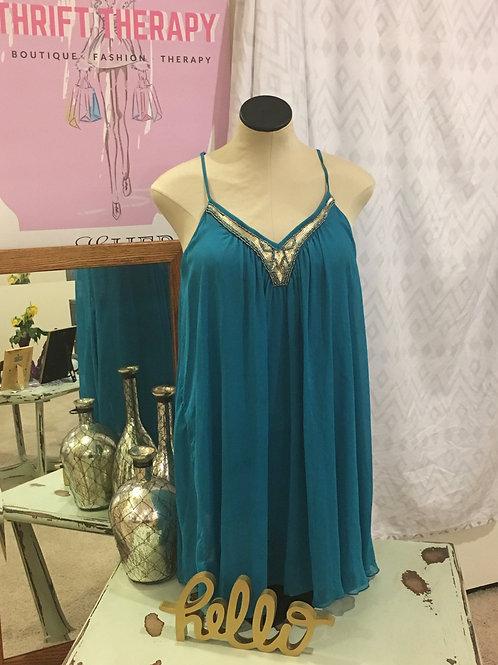Express Teal Flowy Spaghetti Strap Dress w/Gold Embellishments
