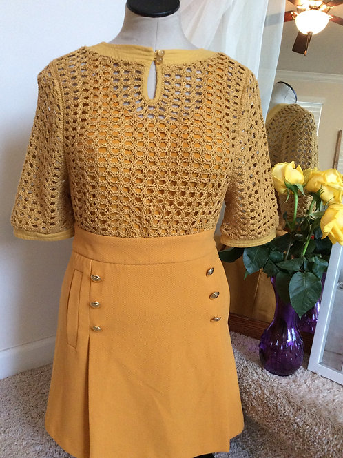 Mustard Yellow Crochet/Knit Summer Sweater