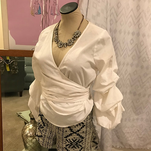 White Blu Pepper Wrap and Tie Blouse