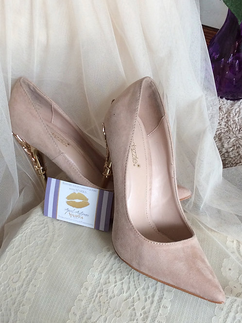 Blush Pink Pumps w/Embellished Gold Heel Size 8 1/2