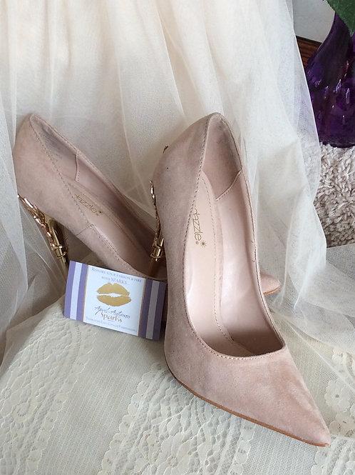 Blush Pink Pumps w/Embellished Gold Heel Size 8 1/2