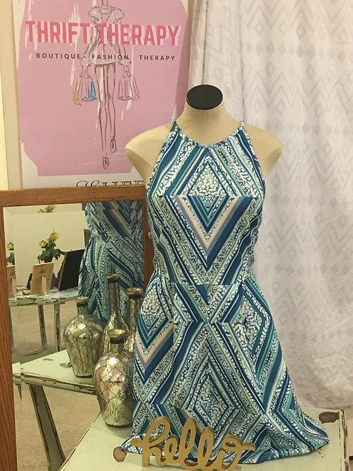 Teal White & Peach Geometric A-Line Dress