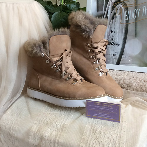Fuzzy Sand Lace-up Boots