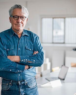 Man Wearing Jean Suit