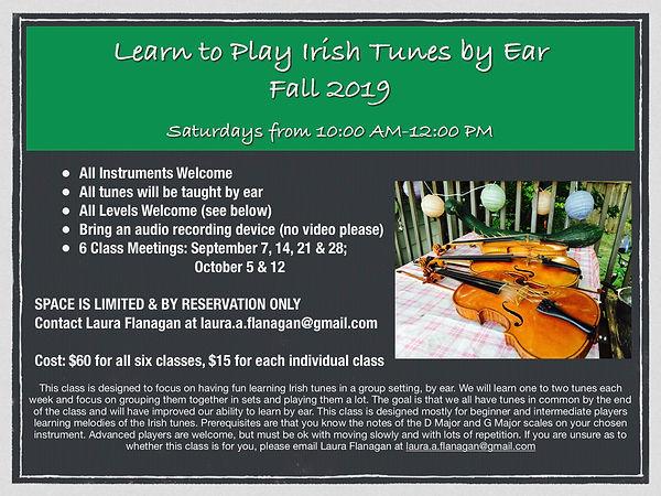 Learn to Play Irish Tunes by Ear Fall 20