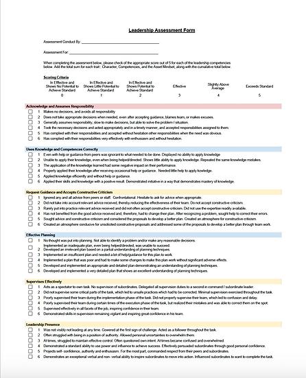 Printable Leadership Assessment Form