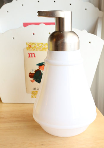 Milk Glass + Silver Foaming Hand Soap Dispenser