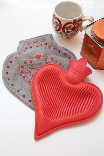 Heart-Shaped Hot Water Bottle and Cozy Gray Embroidered Cover