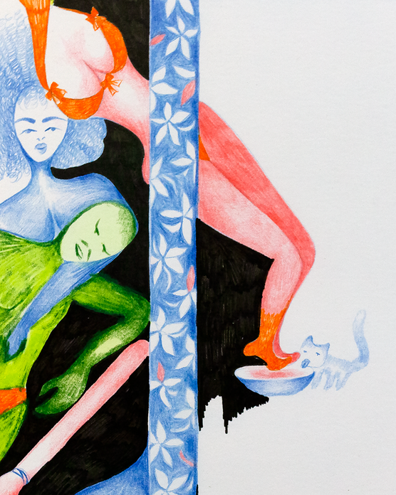 Panic in Frame, 2019. Pencil, watercolor and ink on paper, 11 inches x 14 inches (Detail)