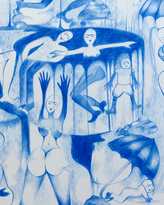 Puddles of Blue, 2019. Pencil on paper, 11 inches x 14 inches (Detail)