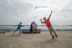 Kids jumping into Family Portrait
