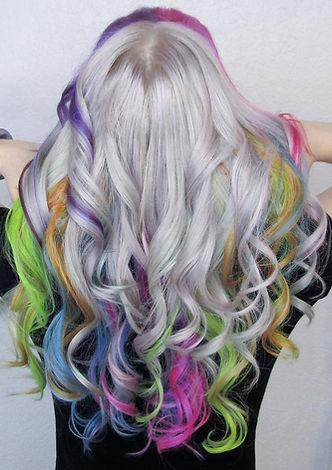 platinum blonde rainbow hair