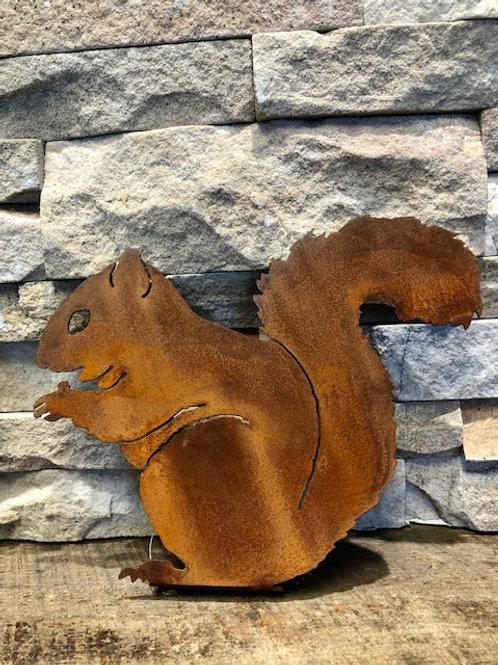 Squirrel Sitting Steel Silhouette