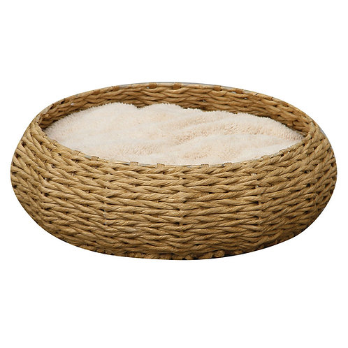 Round Basket Bed with Pillow