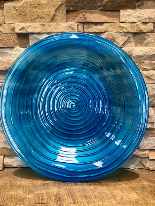 Glass Bird Bath Blue Swirls
