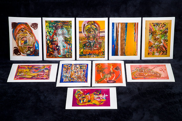Set of 10 Greeting Cards from Original Art