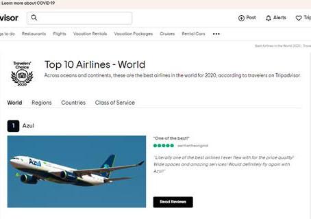 Azul é eleita a Melhor Companhia Aérea do Mundo pelo Tripadvisor
