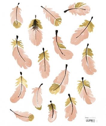 Stickers pour mur chambre fille plume rose et dorée