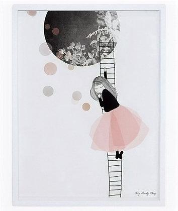Affiche et cadre tableau romantique fille danseuse ballerine lune échelle noir et rose rêve