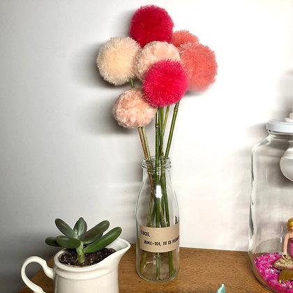 Le bouquet de pompons roses