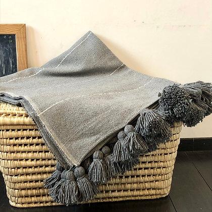 Plaid gris en coton