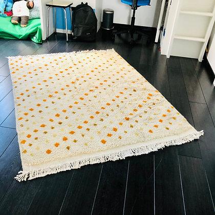 Le tapis à pois Jaune - 100% laine