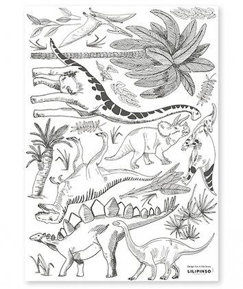 Stickers dinosaures pour décoration chambre enfant noir et blanc