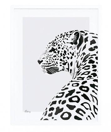 tableau léopard cadre blanc noir savane afrique