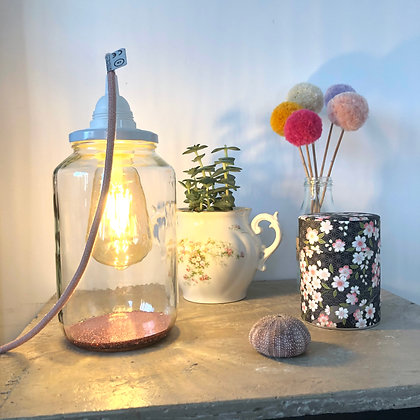 Lampe bocal vieux rose paillette