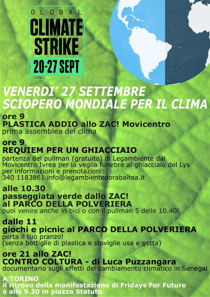 Venerdì 27 settembre - Sciopero nazionale per il clima