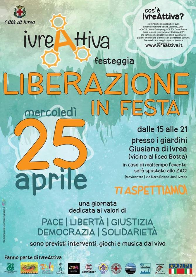 Ivreattiva festeggia Liberazione in Festa: una giornata dedicata ai valori di PACE, LIBERTÀ, GIUSTIZ