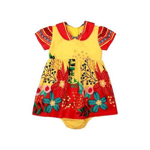 Precoce - Vestido Bebê com Gola e Calcinha