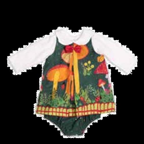 Precoce - Vestido Bebê com Camiseta Manga Longa e Calcinha