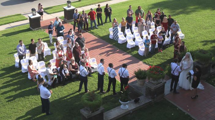 Outdoor Wedding Ceremony - Front Steps Gufler Mansion.jpg