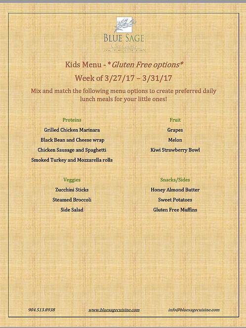 Gluten Free Kids - Weekly Meal Plan- 5 Meal Plan - 3/27- 3/31