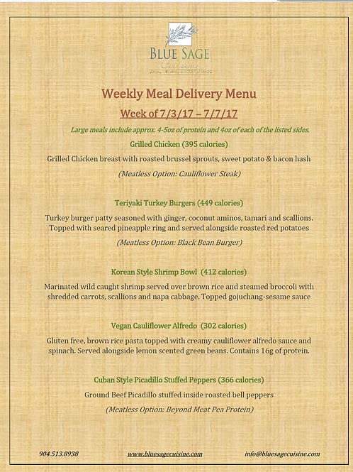 Meal Delivery - 5 Meal Plan - 7/3- 7/7