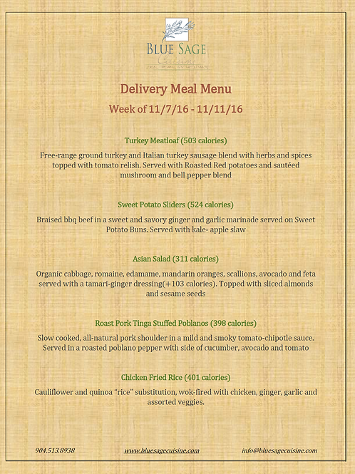 Weekly Meal Delivery - 5 Meal Plan - 11/7- 11/11