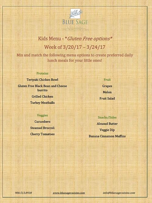 Gluten Free Kids - Weekly Meal Plan- 5 Meal Plan - 3/20- 3/24