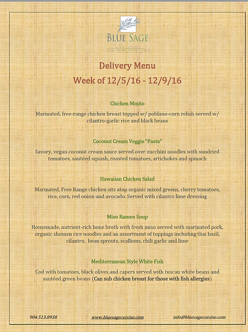 Weekly Meal Delivery - 5 Meal Plan - 12/5- 12/9