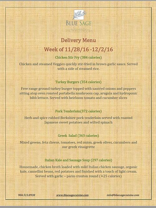 Weekly Meal Delivery - 5 Meal Plan - 11/28- 12/2