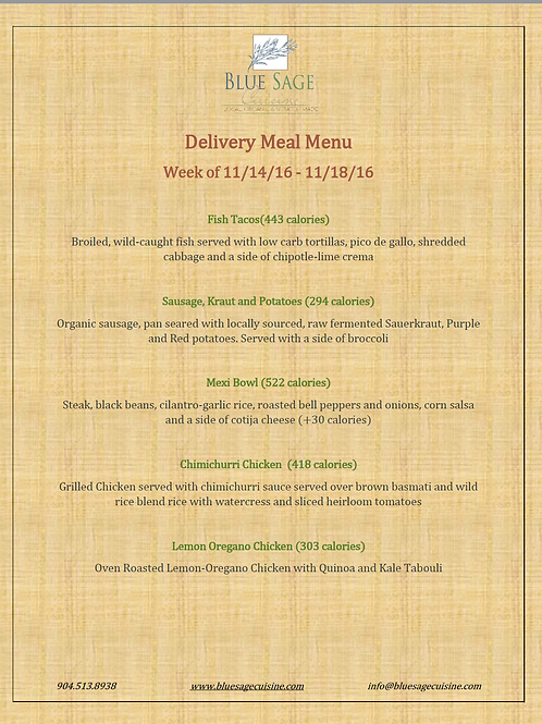 Weekly Meal Delivery - 5 Meal Plan - 11/14- 11/18