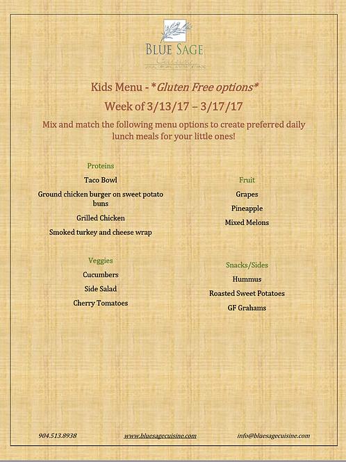 Gluten Free Kids - Weekly Meal Plan- 5 Meal Plan - 3/13- 3/17