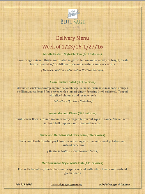 Weekly Meal Delivery - 5 Meal Plan - LARGE - 1/23 - 1/27