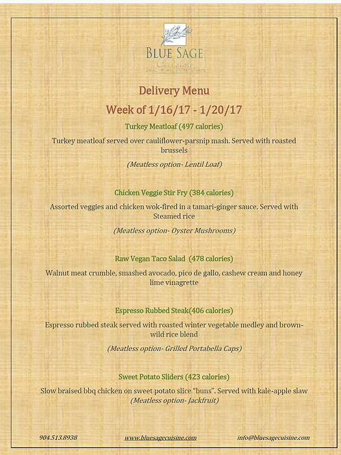 Weekly Meal Delivery - 5 Meal Plan - LARGE - 1/16 - 1/20