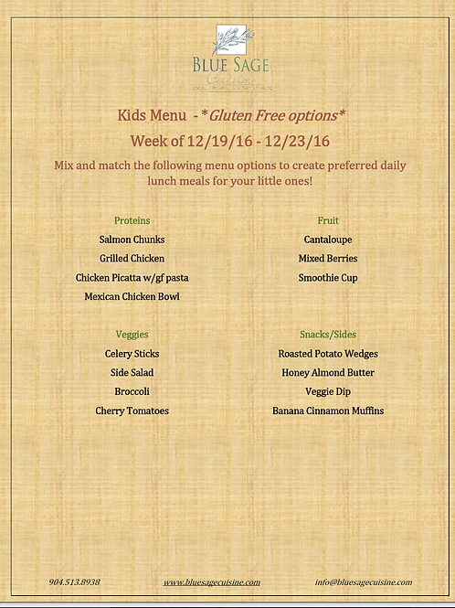 Gluten Free Kids - Weekly Meal Plan- 5 Meal Plan - 12/19 - 12/23