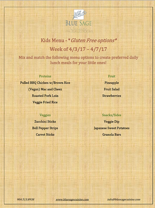 Gluten Free Kids - Weekly Meal Plan 4/3- 4/7